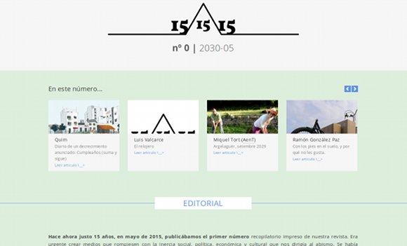 Captura de la versión online del nº 0 de la revista 15/15\15