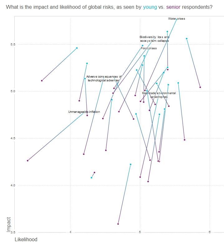 Valoración de los riesgos globales entre jóvenes y el resto.