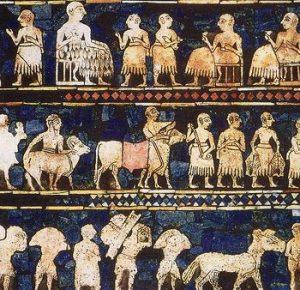 Fragmento dun mosaico representando o pobo sumerio. Fonte: Wikimedia Commons.