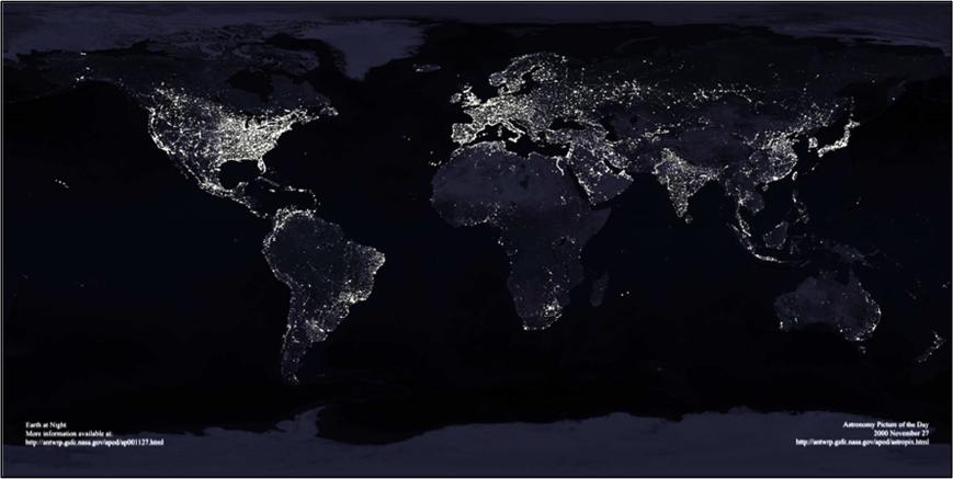 Figura 4. La Tierra de noche.