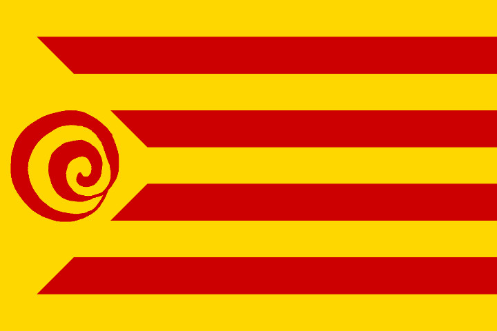 "The ""estelada decrecentista"", or the Catalan flag with the degrowth symbol instead of the usual star"