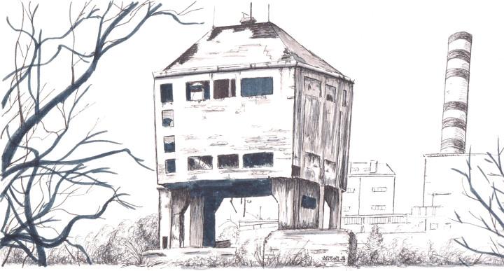 Ruina industrial (dibujo)