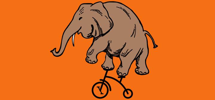 Elefante bat triziklo baten gainean