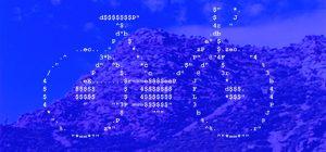 Bicicleta ASCII sobre fondo de paisaje de Estivella