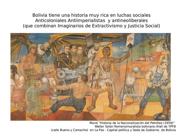 """Mural """"Historia de la Nacionalización del Petróleo (1958)"""" de Walter Solón usado por Peredo en su presentación."""
