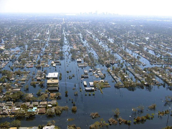 Vista de la inundada Nueva Orleans, Luisiana tras el huracán Katrina