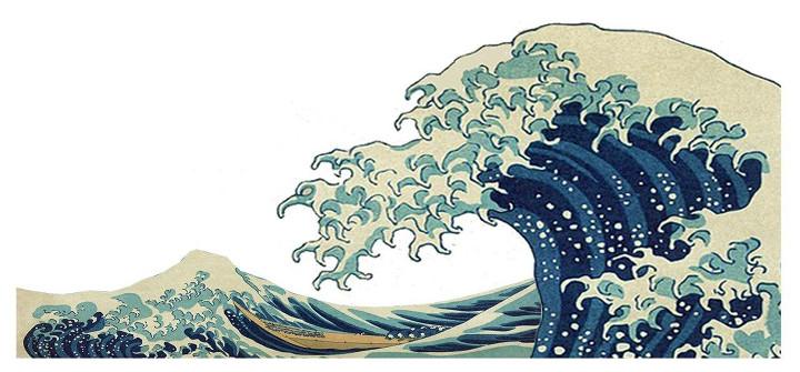Ilustración de Ariadna Uve a partir del famoso cuadro de Hokusai