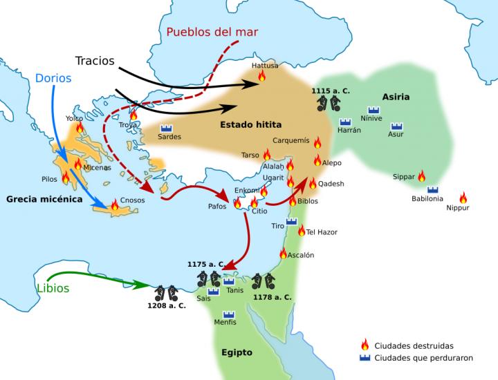 Mapa que muestra el colapso de la Edad de Bronce (conflictos y movimientos de pobloación). – Wikipedia