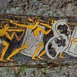 "Oro y plata sobre bronce Daga funeraria micénica ""Caza del león"". Círculo de tumbas A, Micenas, Grecia, siglo XVI a.C. – Wikipedia"