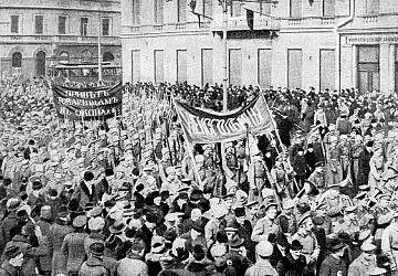 Manifestación de soldados rusos en 1917