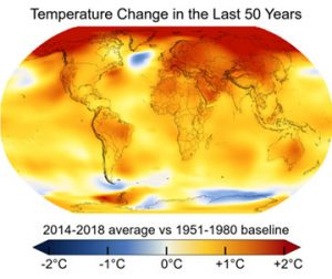Cambio térmico en los últimos 50 años.
