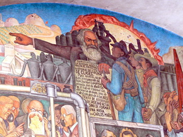 Marx sosteniendo el Manifiesto del Partido Comunista, en un mural de Diego Rivera