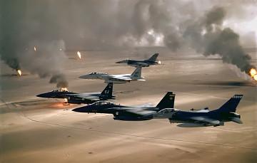 Cazas estadounidenses durante la operación 'Tormenta del Desierto' en Irak (1991).