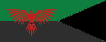 Pendón con los colores y el emblema heráldico de la Casa Atreides, según interpretación de Direktor. Fuente: Wikimedia Commons