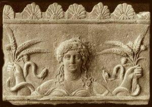 DeméteroDemetra (engriego antiguoΔημήτηρ o Δημητρα, 'diosa madre' o quizás 'madredistribuidora', quizá del sustantivo indoeuropeo*dheghom *mater) es ladiosa griegade laagricultura