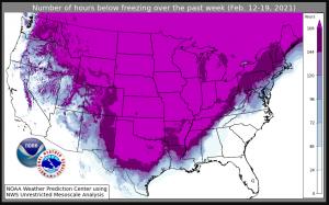 Un mapa que muestra la duración del extenso frío en Norteamérica durante la semana del 12 al 19 de febrero de 2021