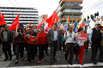 Protestas de trabajadores e indígenas contra el gobierno de Rafael Correa