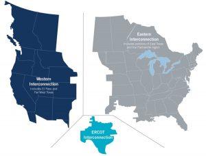 La mayor parte de la red eléctrica de Texas está gestionada por el Consejo de Fiabilidad Eléctrica de Texas, que no está vinculado a otros sistemas eléctricos nacionales interconectados. (Cortesía del Consejo de Fiabilidad Eléctrica de Texas)