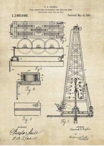 La ilustración de cabecera es una imagen de la patente del pozo de petróleo perforador inventado por Howard. R. Hughes en 1916.