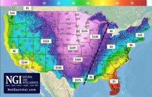 Temperatura en grados Fahrenheit y precios locales del gas.