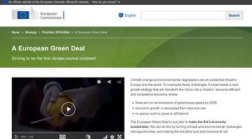 Captura del web oficial del European Green Deal