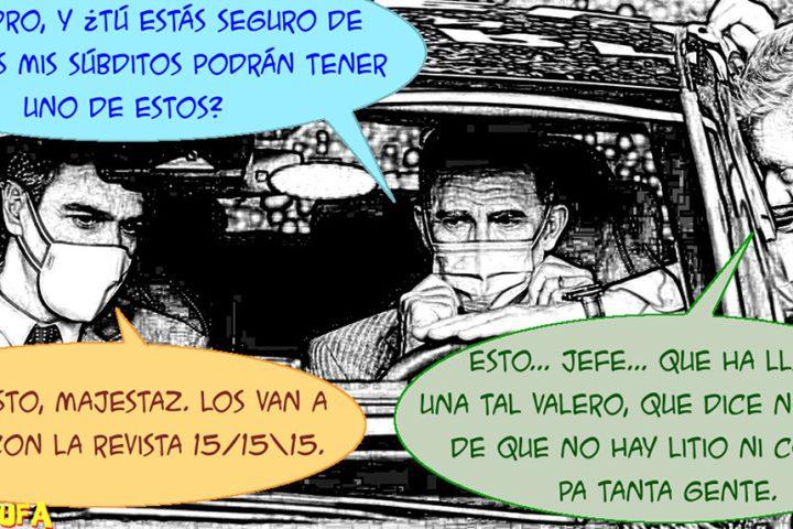 Pedro Sánchez y Felipe VI a bordo de un coche eléctrico. Salón del automóvil de Barcelona, 2021